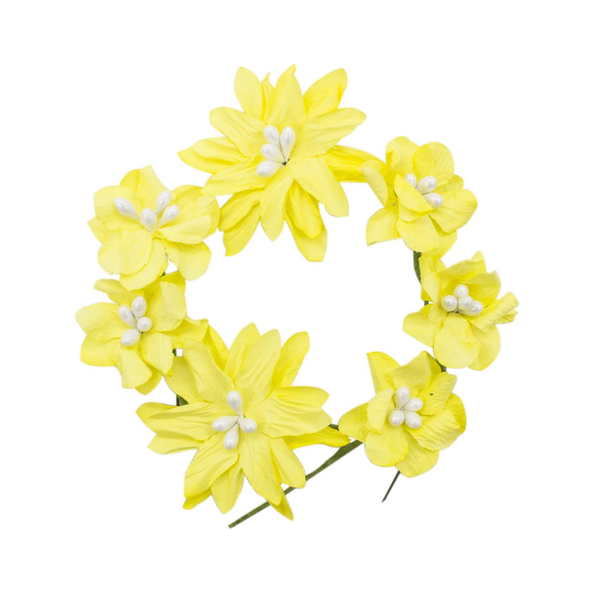 YX15-144 Бумажные цветы 'Хризантемы', d 3 см/5 см, упак./10 шт., 'Астра'