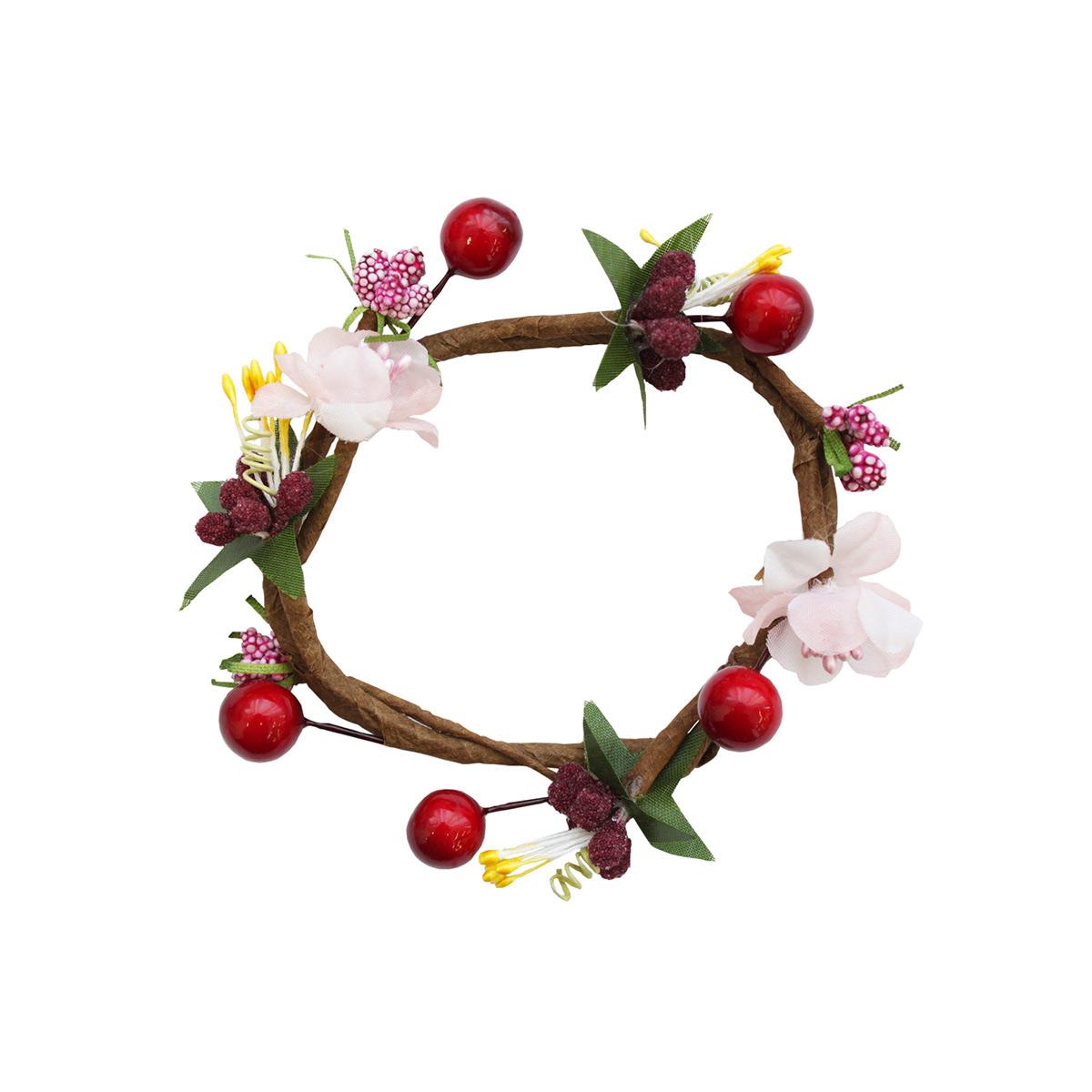 MH1-157 Венок для свечей Цветы и ягоды D7.5x2.5см,1шт, Астра