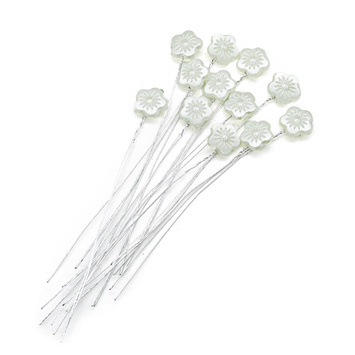 MH9-2260 Декоративный элемент на проволоке Цветок 1,4*1,4см, длина 11см,12шт, Астра