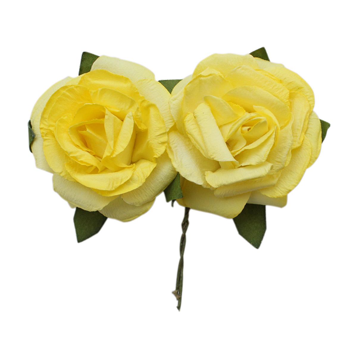 MH3-2324 Набор декоративных цветов D=4,3*2см, 6шт, Астра (E13 желтый) фото
