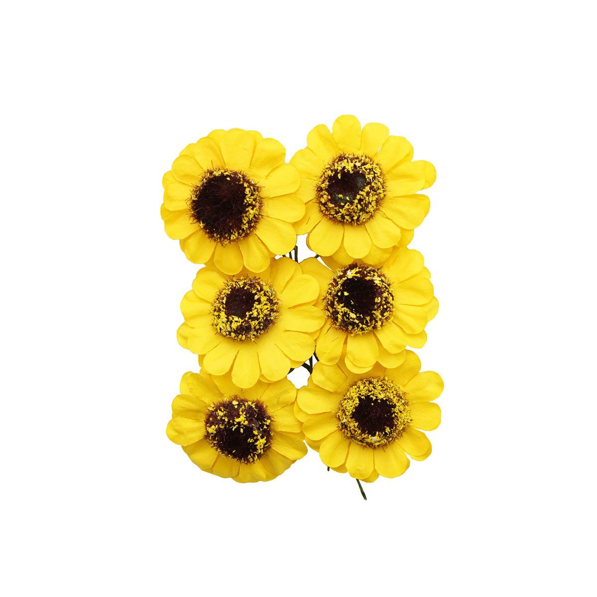 MH3-2313 Набор декоративных цветов, цв.желтый, D=4*2см, 6шт, Астра