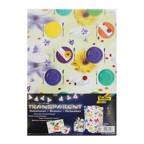 81403 Транспарентная бумага 'Приглашение', 115 г/м², 23*33 см, упак./5 листов, Folia