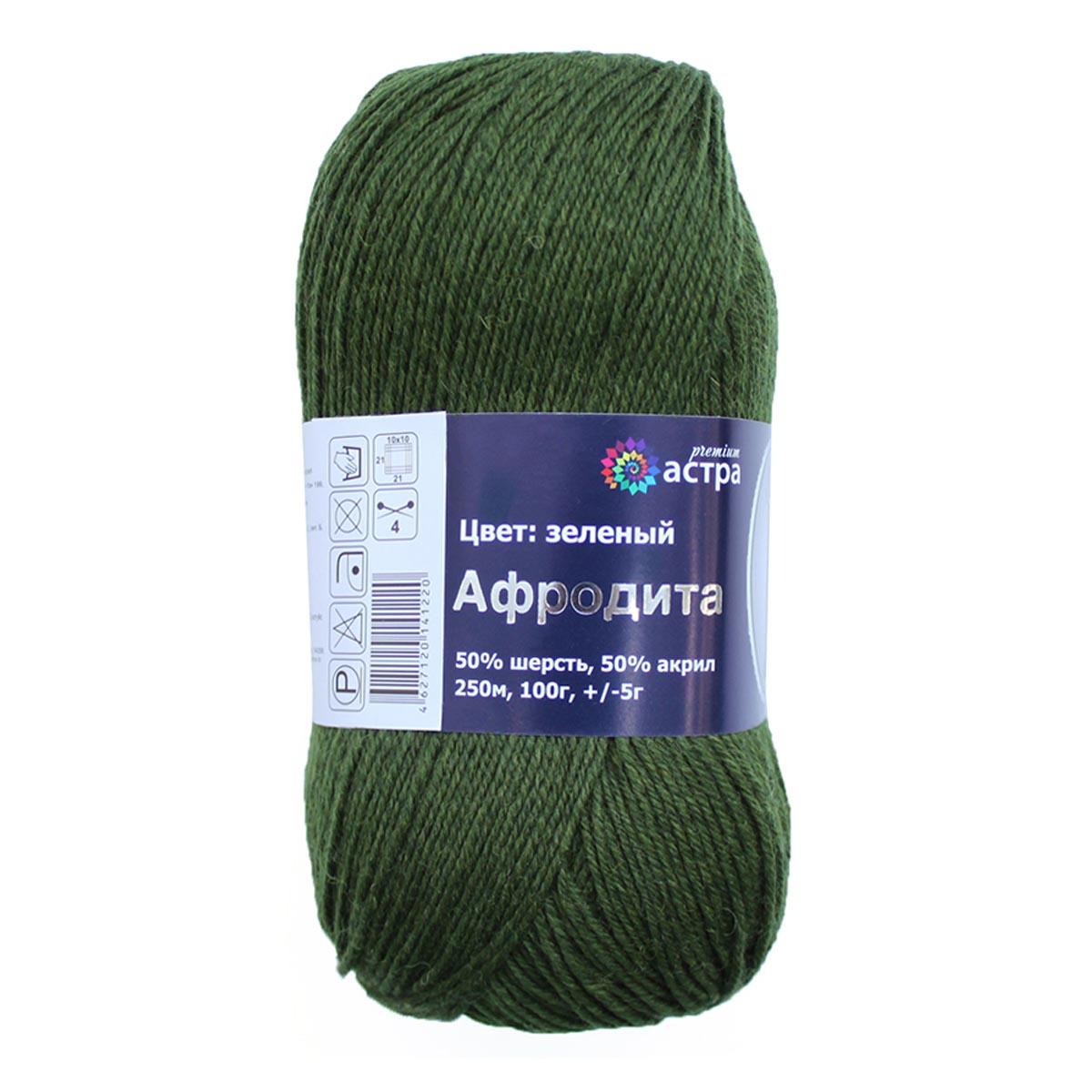 Пряжа Astra Premium 'Афродита' 100гр. 250м (50% шерсть, 50% акрил) (14 зеленый) фото