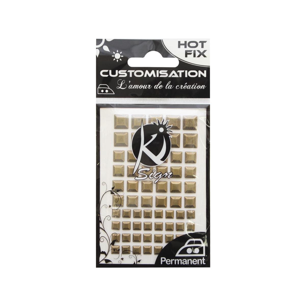 KS-C-MET-CAR Термоклеевые стразы металлик квадратные 6/8/10мм, 66шт Ki Sign