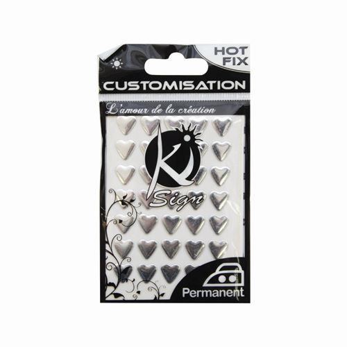 KS-C-METAL004AR Термоклеевые стразы металлик Сердца, серебро, 8х8мм, 35шт Ki Sign