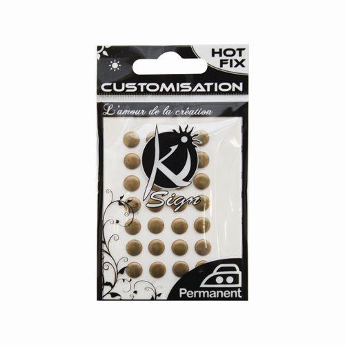 KS-C-METAL010AB Термоклеевые стразы металлик круглые, античная бронза, 7мм, 28шт Ki Sign
