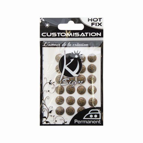 KS-C-METAL013AB Термоклеевые стразы металлик круглые со звездой, античная бронза, 9мм, 24шт Ki Sign