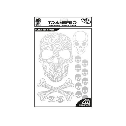 KS-TRA-TDMORT Термотрансферный мотив 'Черепа и кости', серебро, А4 Ki Sign