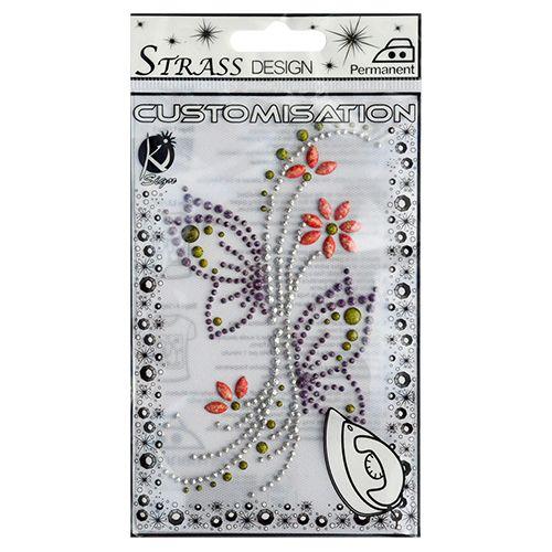 KS-MSM16 Термоаппликация из страз 'Бабочки на цветке', металлик, 12,5*7,5см Ki Sign