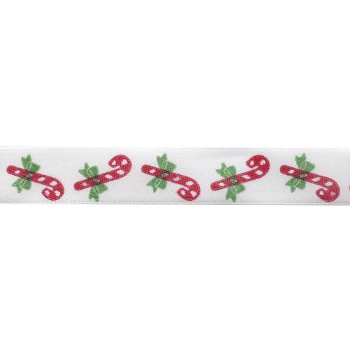 Лента атласная 'Рождественские леденцы', 15мм*22,5м