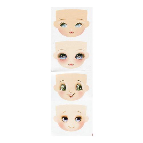 GDVIG01 Фоамиран с принтом 'Кукольное лицо 1',100*85 мм, 4 шт. на листе, 12*40 см, Renkalik