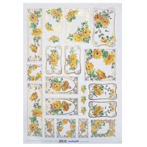 CGLAM004 Декупажная бумага с позолотой 'Желтые розы', плотность 50 гр./кв.м, 35х50 см, Renkalik