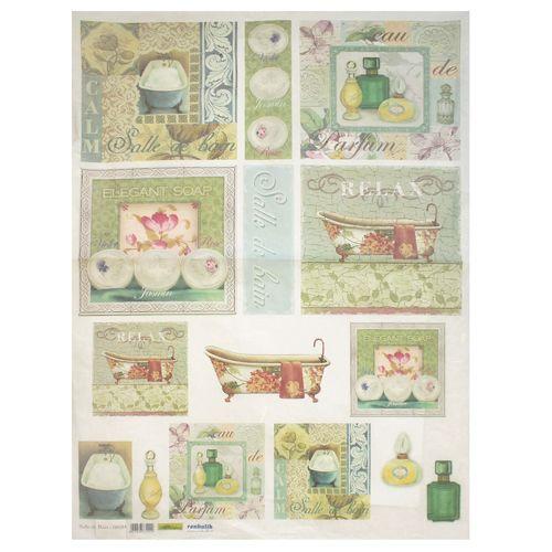 QSIPM020M Декупажная бумага рисовая 'Ванная комната', плотность 25 гр./кв.м, 50х70 см, Renkalik