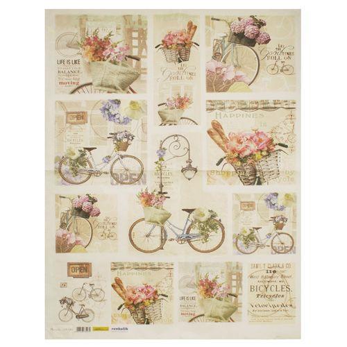 QSIPM031M Декупажная бумага рисовая 'Велосипеды', плотность 25 гр./кв.м, 50х70 см, Renkalik