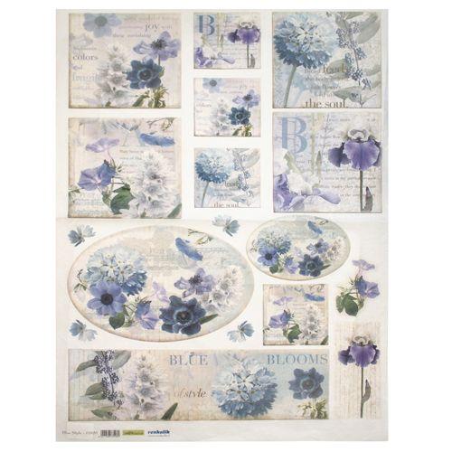QSIPM032M Декупажная бумага рисовая 'Голубые цветы', плотность 25 гр./кв.м, 50х70 см, Renkalik