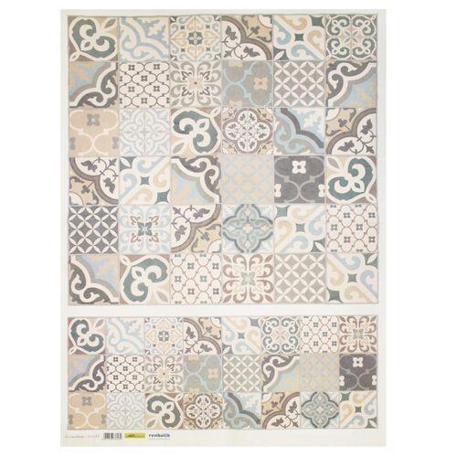 QSIPM035M Декупажная бумага рисовая 'Керамическая плитка', плотность 25 гр./кв.м, 50х70 см, Renkalik