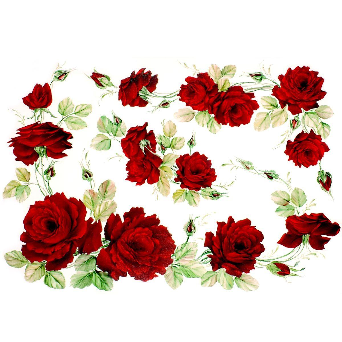 QSIPR009 Декупажная бумага рисовая 'Красные розы', плотность 25 гр./кв.м, 35х50 см, Renkalik