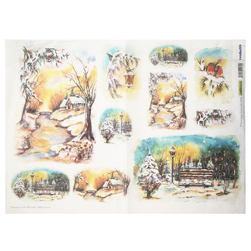 QSIPR068 Декупажная бумага рисовая 'Заснеженные пейзажи', плотность 25 гр./кв.м, 35х50 см, Renkalik