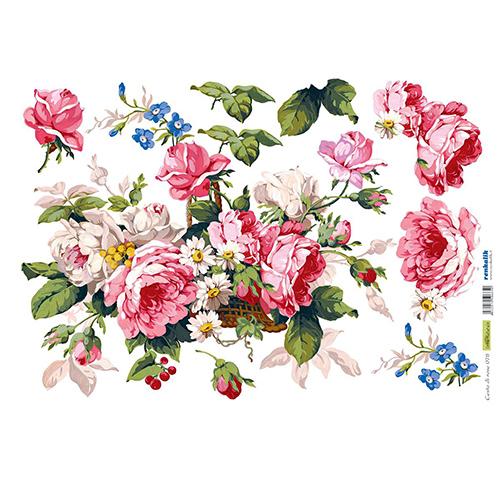 QSIPR078 Декупажная бумага рисовая 'Корзина с розами', плотность 25 гр./кв.м, 35х50 см, Renkalik