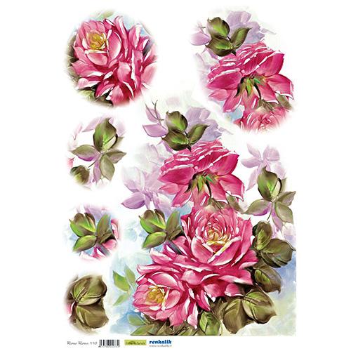 QSIPR110 Декупажная бумага рисовая 'Розовые розы', плотность 25 гр./кв.м, 35х50 см, Renkalik