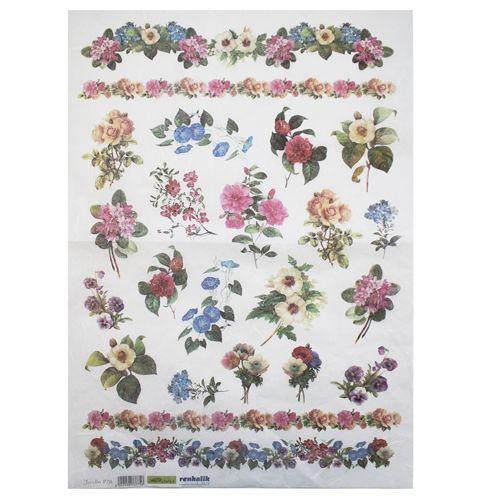 QSIPR278 Декупажная бумага рисовая 'Цветы из сада', плотность 25г/кв.м, 35х50см Renkalik
