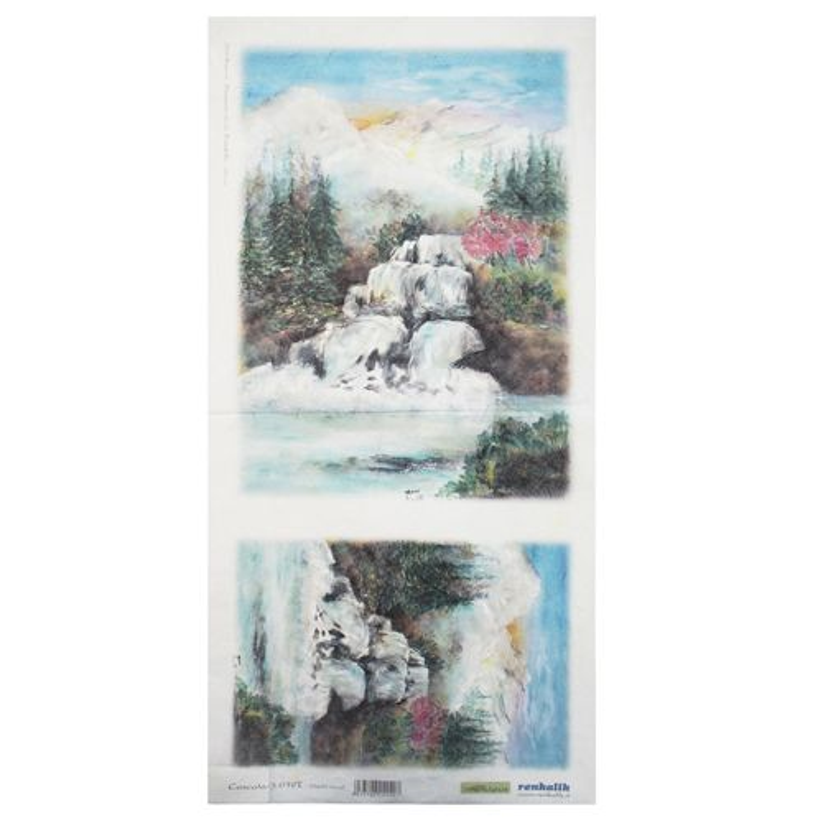 QSITO019T Декупажная бумага рисовая 'Водопад', плотность 25 гр./кв.м, 23х50 см, Renkalik