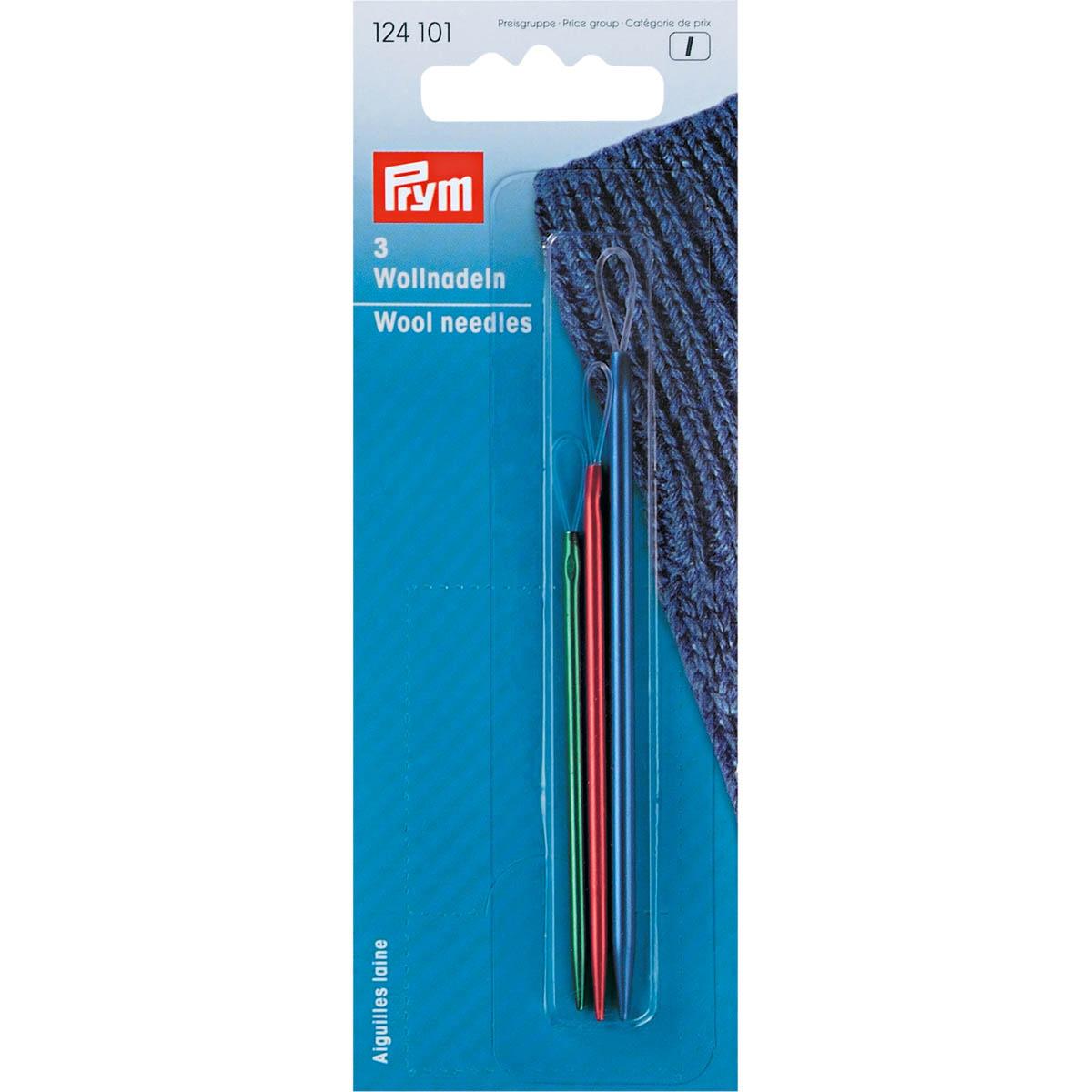 124101 Иглы для шерсти с гибким ушком (алюминий), 3шт.  Prym