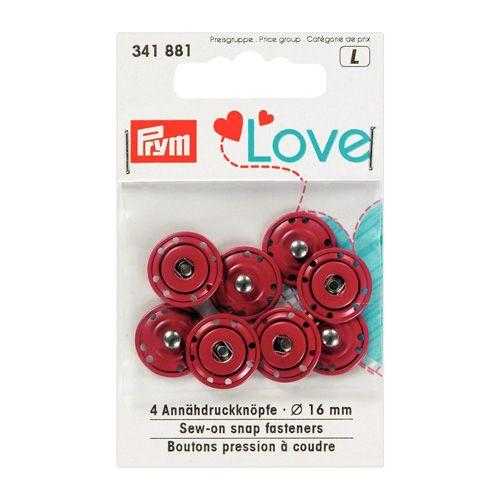 341881 Пришивные кнопки Prym Love, красный, 16 мм, упак./4 шт., Prym