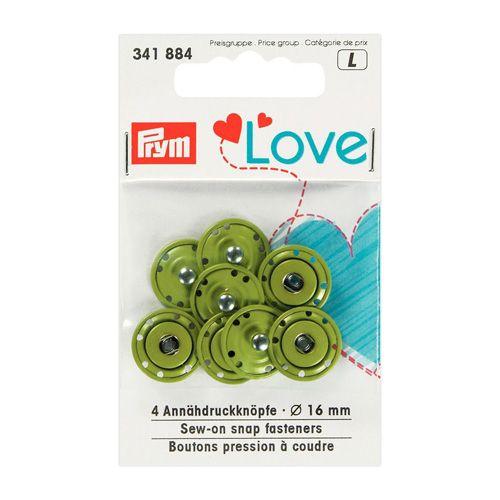 341884 Пришивные кнопки Prym Love, зеленый, 16 мм, упак./4 шт., Prym