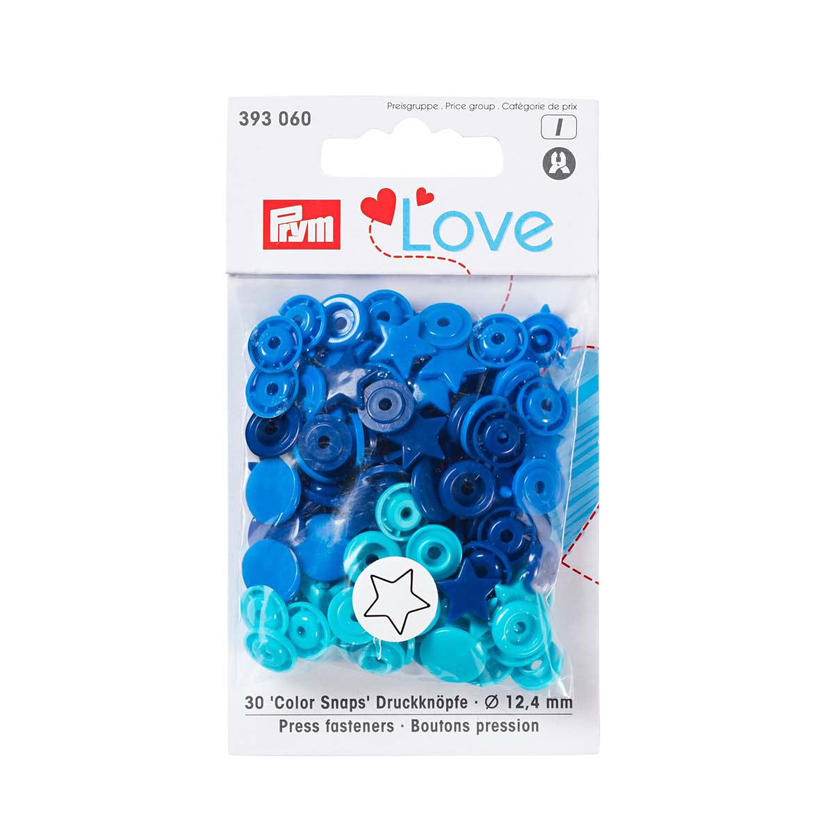 393060 Kнопки 'Звезда' Color Snaps Prym Love, синий/бирюза/чернильный, 12мм, 30шт Prym Prym