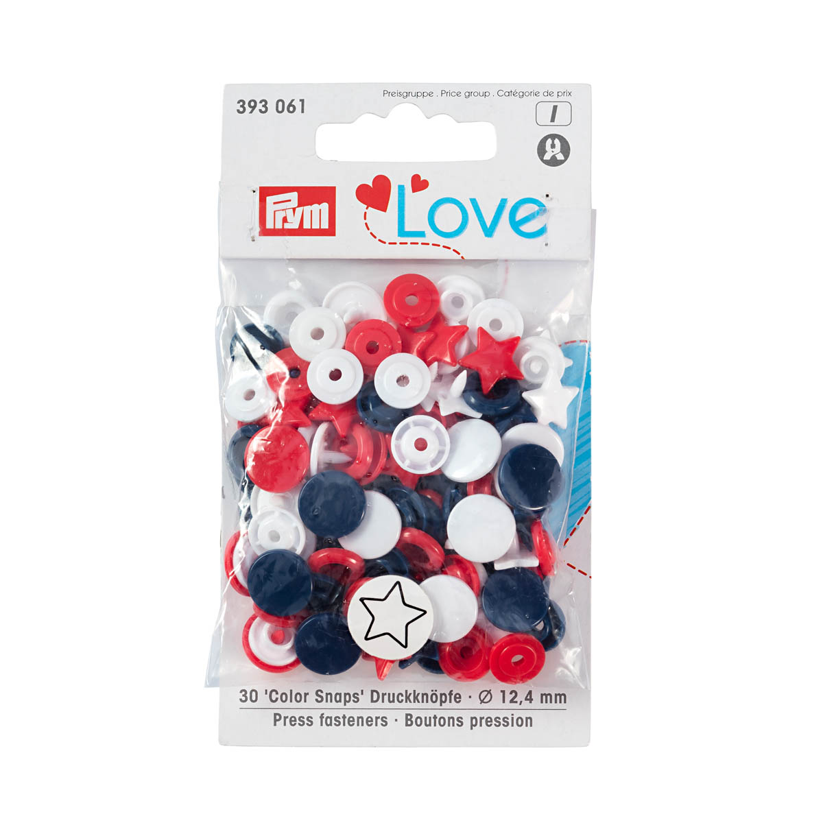 393061 Kнопки 'Звезда' Color Snaps Prym Love, красный/белый/синий, 12мм, 30шт Prym Prym