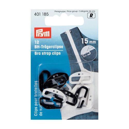 401185 Клипсы для бретелей бюстгалтера, белый/черный, 15 мм, упак./12 шт., Prym