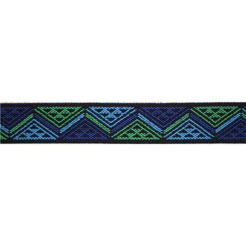 957452 Эластичная лента Color 'Треугольники' 25мм, 7м, синий/зеленый Prym