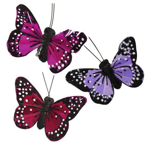 C1530 Бабочки с клипсой 5,5см, ассорти (3шт/упак) Астра