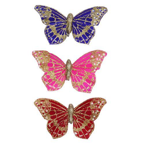T14-A253 Бабочки с клипсой 8см, ассорти (3шт/упак) Астра