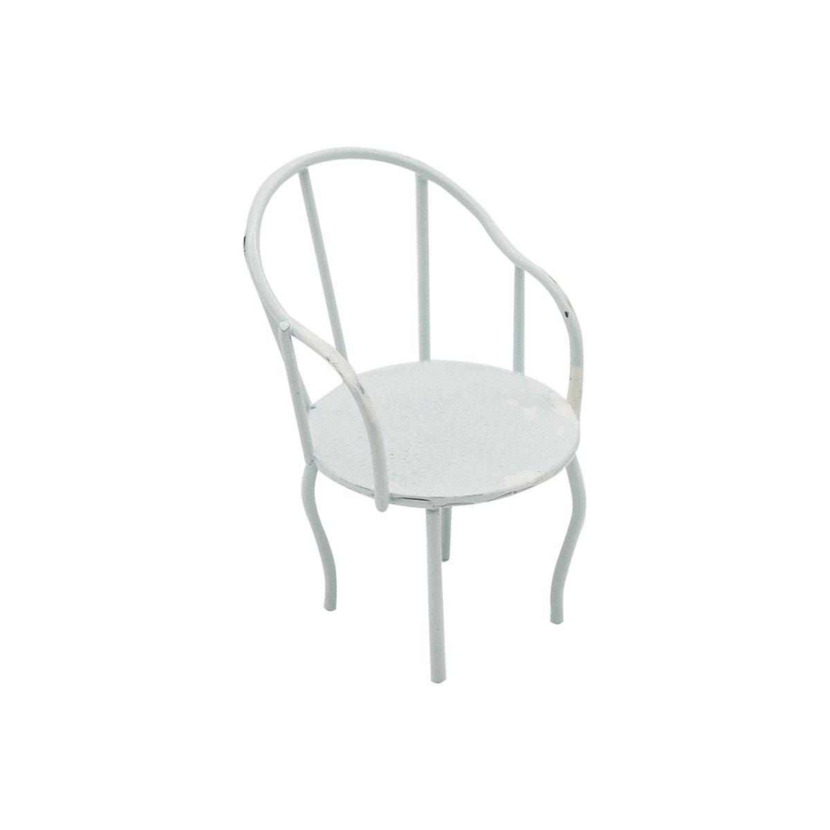 KB2555A Металлический мини стул, белый 4*3*6,5см Астра