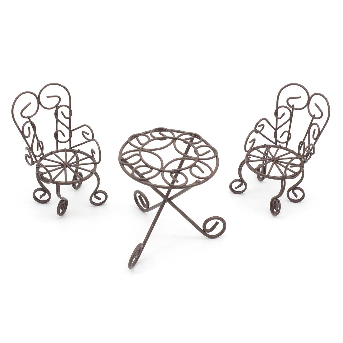 KB4243 Набор метал. стол 6*7см с 2-мя стульями 3*4*7,5см, корич. Астра (3шт/упак)