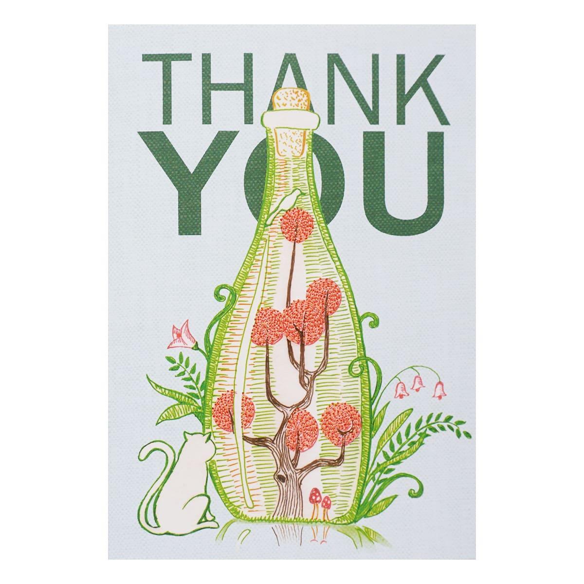 MWA01 Поздравительная открытка с вышивкой 'Thank You', 12*17 см.(конверт в комплекте)
