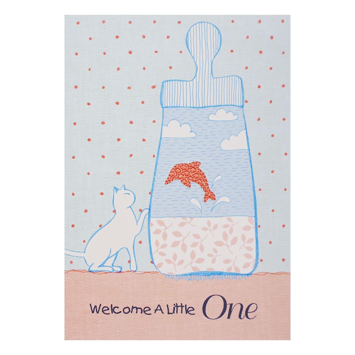 MWA05 Поздравительная открытка с вышивкой ' Welcome a little one', 12*17 см.(конверт в комплекте)