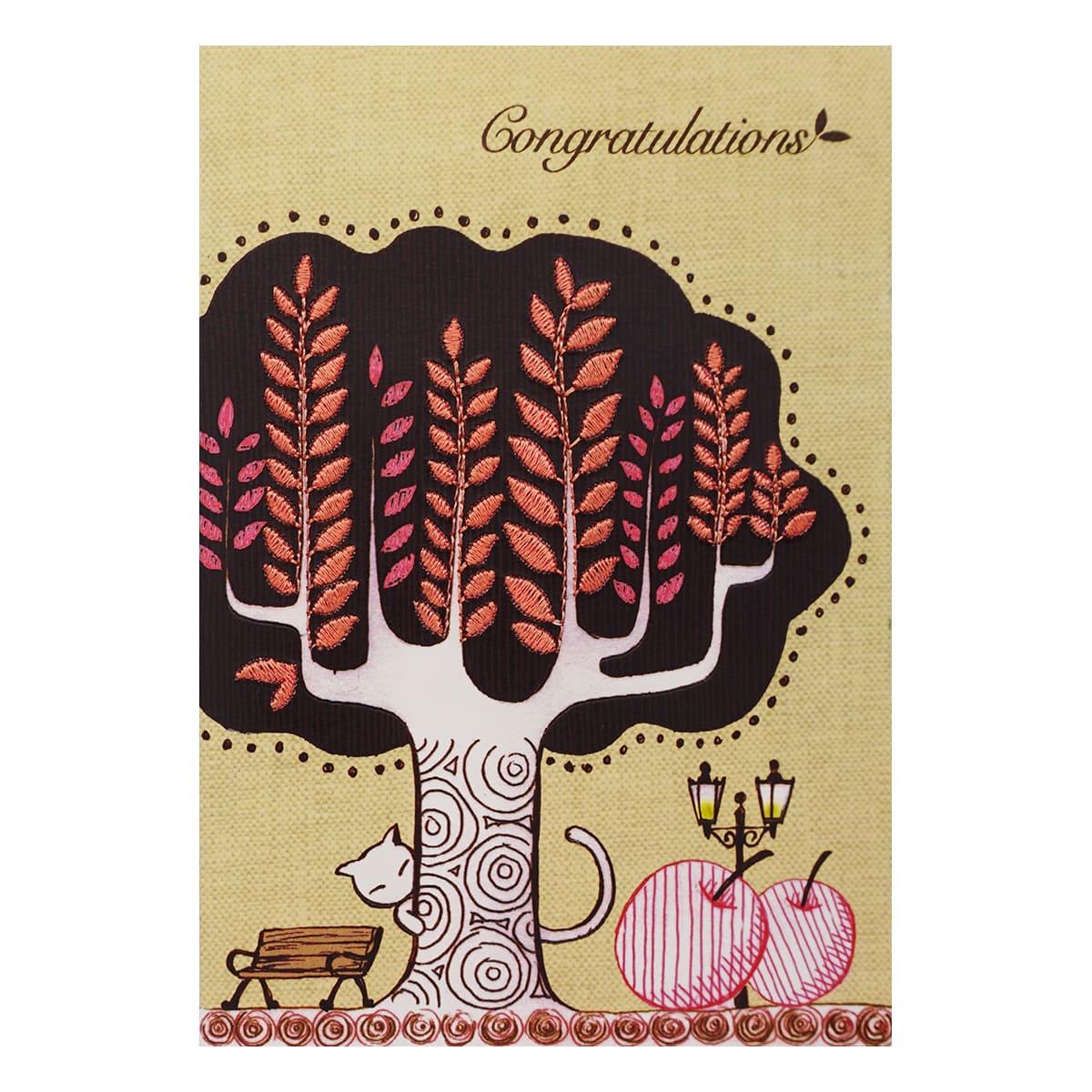 MWA06 Поздравительная открытка с вышивкой 'Congratulations', 12*17 см.(конверт в комплекте)