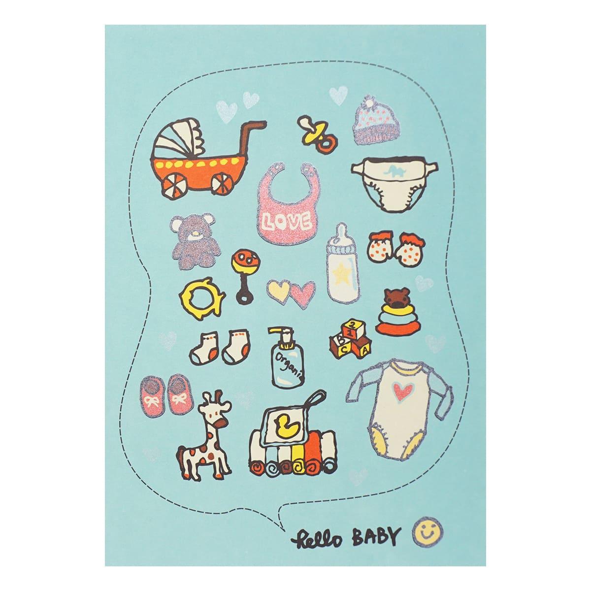 LTA02 Поздравительная открытка ' Hello Baby', 12*17 см.(конверт в комплекте)