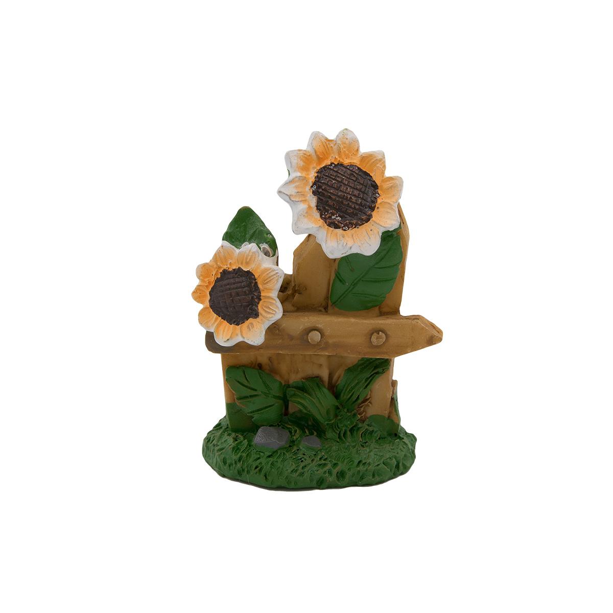 560816 Миниатюра Забор с цветами 4,5*2,5*6см, Астра фото
