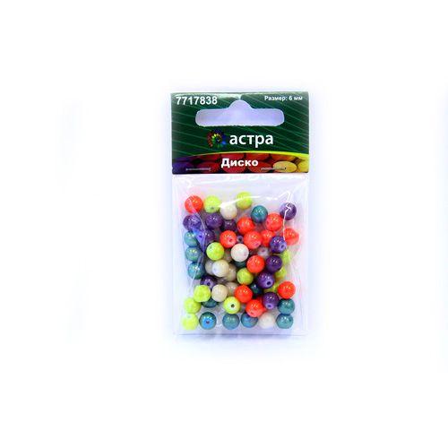 1301148 Бусины стеклянные микс 'Диско' 6мм, упак/60шт., 'Астра'