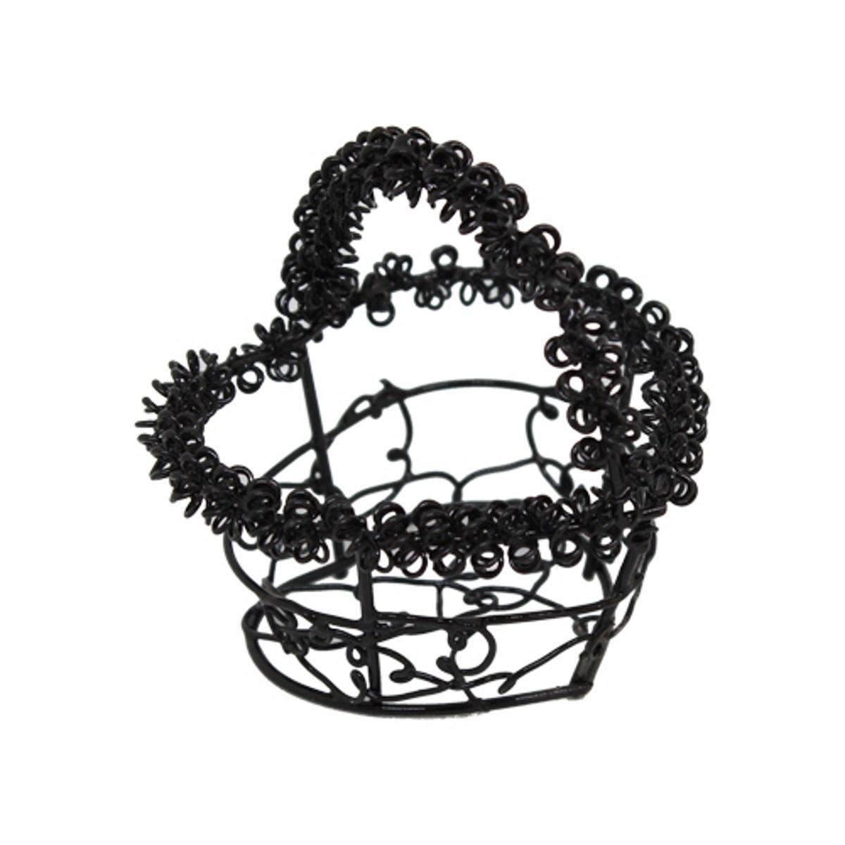 1204 Корзинка витая металлическая в форме сердца, 4,5*6,5см