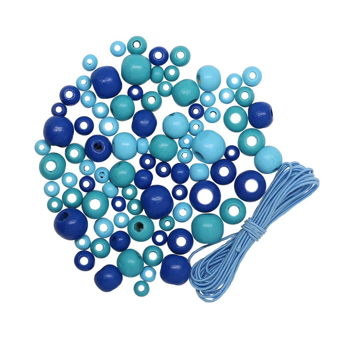 160815 Набор деревянных бусин со шнуром, голубой микс, 6,8,10,12мм, 90шт/упак, Астра.