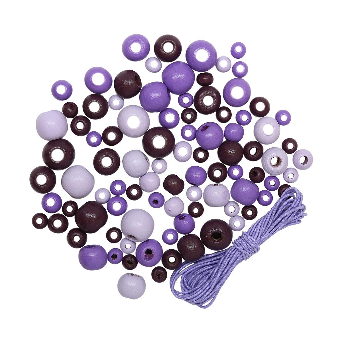 160817 Набор деревянных бусин со шнуром, фиолетовый микс, 6,8,10,12мм, 90шт/упак, Астра.