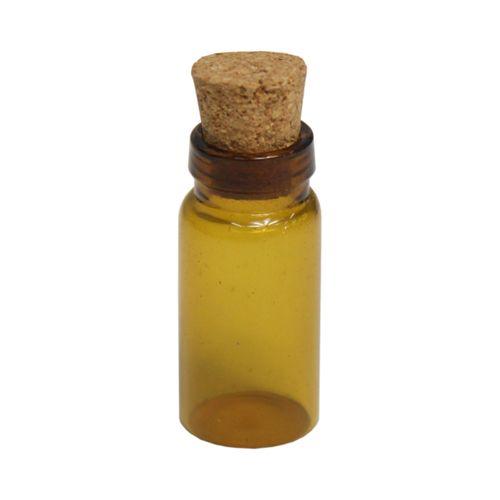 D26000051B Стеклянные бутылочки с пробкой (коричневые), 1,1*2,5см, 4шт/упак. Астра