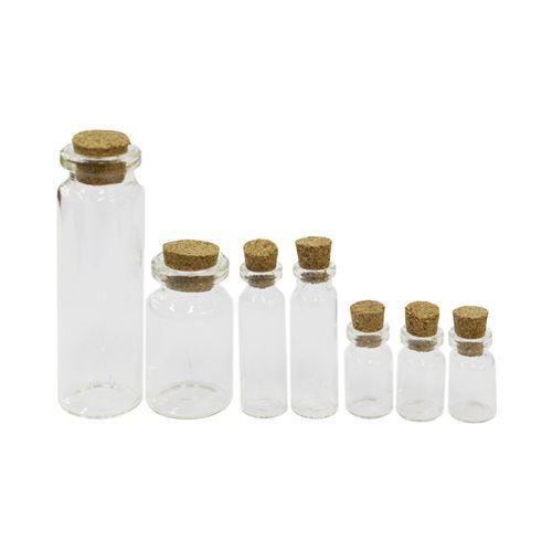 S20493342-SIL Стеклянные бутылочки с пробкой, 1,2*4см, 1,2*2,3см. 2,1*6,8см, 2,2*4см, 7шт/упак.Астра