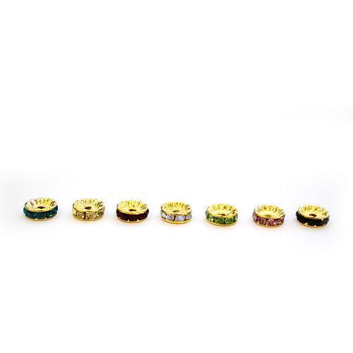 Рондели со стразами, золото, микс, 7шт/упак
