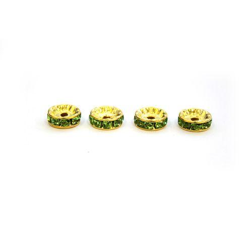 Рондели со стразами, зеленый/золото, 4шт/упак